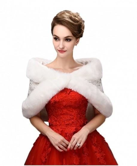SK Studio Bridal Wraps Faux Fur Shawl Wedding Bolero Wedding Jacket Winter Wedding Coat - White - C712N0BAZY3