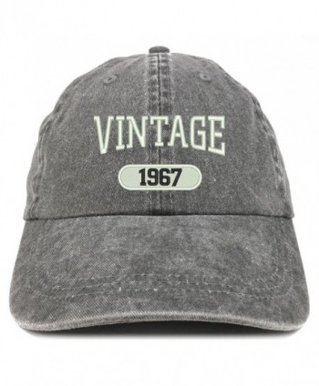 Trendy Apparel Shop Vintage 1967 Embroidered 51st Birthday Soft Crown Washed Cotton Cap - Black - CE12JO1J19X