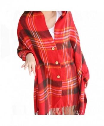 Vintage Plaid Knitted Tassel Poncho Shawl Cape Button Cardigan - Red - CA185DW2DLU