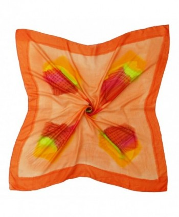 """Women Summer Fashion Soft Silk Wrap Scarf Square Stole 40"""" x 40"""" - Orange and Red - CL12MXWG51Q"""