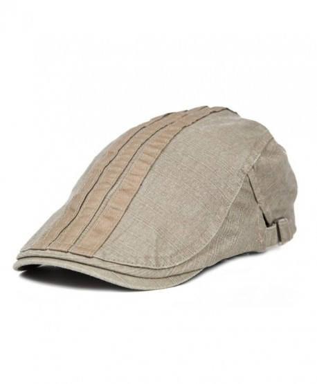 TS 100% Cotton Men's Gatsby Cap newsboy IVY Hat - Beige - CP11X4WMGCX