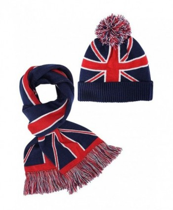 British Flag Ribbed Knit Beanie Hat & Scarf Unisex Matching Set - C2128O8TG1F