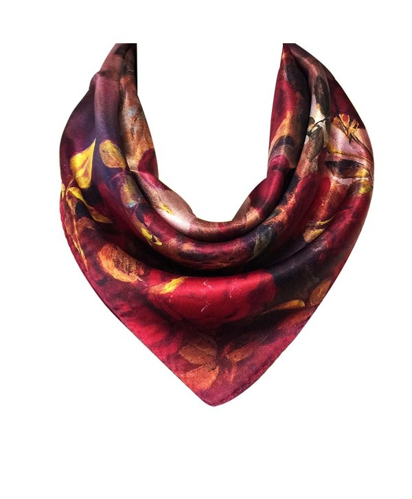 Wrapables 100% Charmeuse Silk Square Scarf Neckerchief - Red Roses - C111XAT0Z77