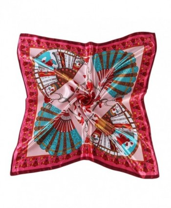 "CS&BEAUTY Women's Neckerchief 35""X35"" Fan Pattern Square Scarf Headdress - Red - CH12O7JCI3G"