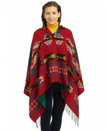So'each Women's Aztec Winter Hooded Poncho Cape Sweater Knit Shawl Wrap - Red - CM128TJ2OOF