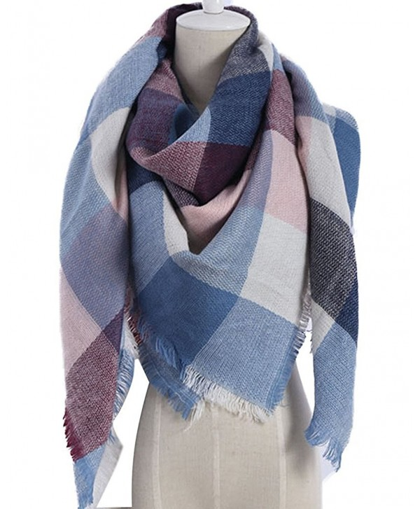 Maybest Large Tartan Stylish Warm Blanket Scarf Gorgeous Wrap Shawl Lovely Best Gift - Pink Blue - CV12O3HIO9A