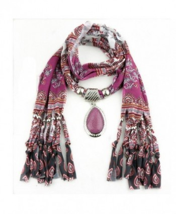 XUANOU Women Tassel Scarf With Elegant Rhinestone Pendant Scarves - C812N7F0CJ4
