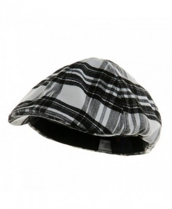 Black & White Plaid Soft Winter Ivy Ascot Cabbie Golf Cap - C112BDF6QA9