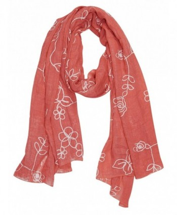 Peach Couture Sheer Soft Cloth Floral Embroidered Flower Summer Shawl Scarf Wrap - Rose Coral - CB126UCF8TL