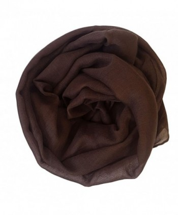 SoLine Solid Color Scarves Shawl Blanket Warm Warp lightweight Large Scarf for Women - Deepbrwon - CE18C3T5HS8
