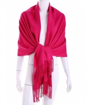 MuNiSa Women's Large Soft Pashmina Cashmere Blend Shawls Wrap Stole Scarf with Tassel - Rose Red - C9187NQ4MZ5