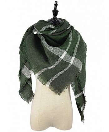 Tartan Scarves Stylish Blockcolor Casual - white green - C0186T2LREW