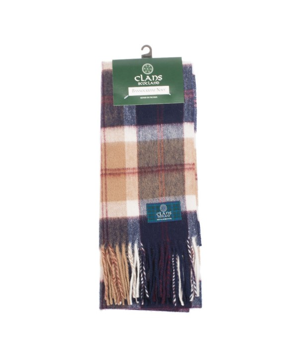 Clans Of Scotland Pure New Wool Scottish Tartan Scarf Bannockbane Navy (One Size) - C4123H40WJL