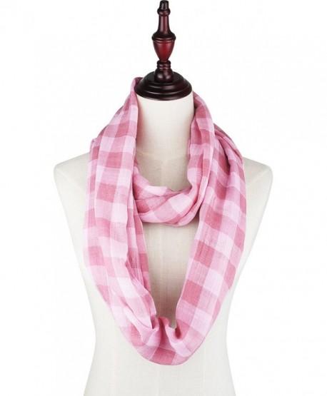 Vivian & Vincent Soft Light Plaid Check Sheer Scarf Shawl Wrap - 17 Cg Pink - CO188YX9H0S