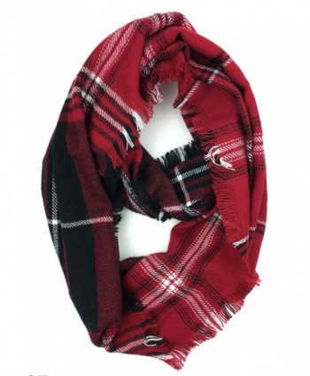 Plum Feathers Premium Plaid Print Infinity Scarf - Red-black-white - C5188UK2DHS