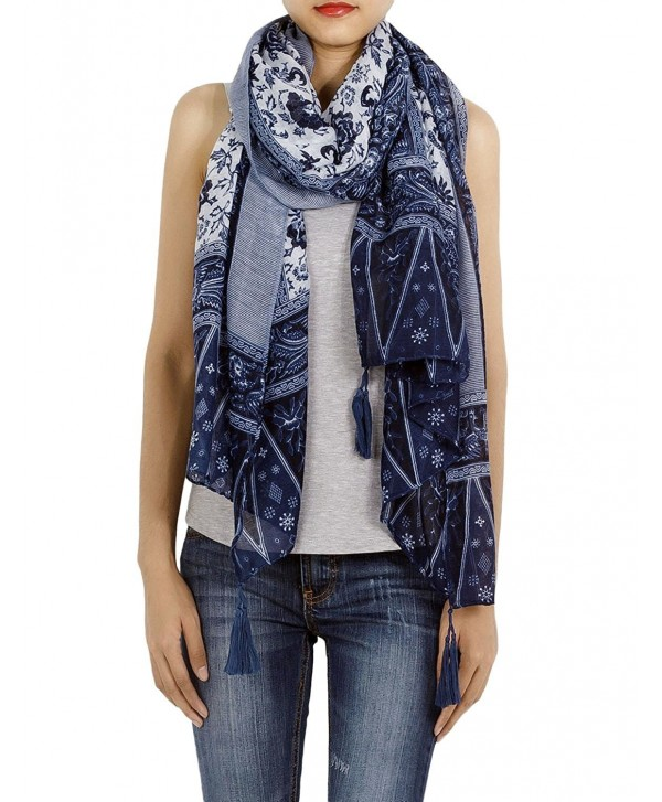 iB-iP Women's Blue-White Porcelain Print Gorgeous Lightweight Long Fashion Scarf - Royal - C411R17E0PX