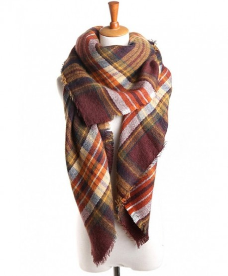 EFZQ Women's Fashion Soft Tartan Checked Plaid Winter Warm Lattice Large Scarf(FBA) - Plaid22 - CZ129NDH4OV