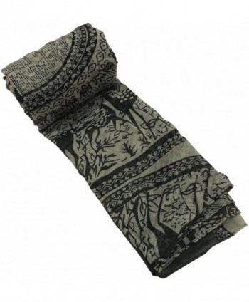 Large Size Fashion Govi Design Voile Shawl Pashmina Scarf Wrap Stole CJ Apparel NEW - Grey Black - CK183IK889X