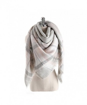 Women's Cozy Tartan Scarf Wrap Shawl Neck Stole Warm Plaid Checked Pashmina - Gray Pink - CL186L90OLT