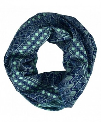 Peach Couture Tribal and Aztec Prints Light Weight Infinity Loop Scarves - Teal - C512K9DU2JX
