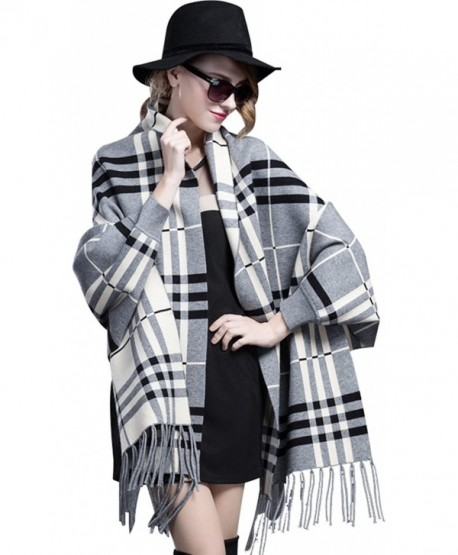 Bellady Winter Thick Cardigan Coat Ladies Open Front Fringe Batwing Poncho Plaid Cardigan Cape - Gray - CR12MD1ZTK1