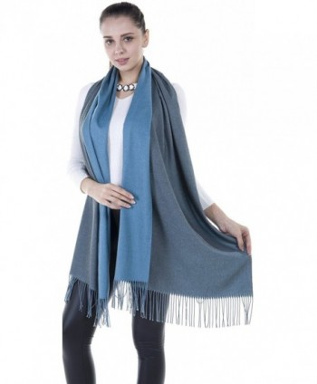 Niaiwei Long Pashmina Womens Wool Shawl- Bridal Extra Large shawl for Wedding Evening - Grey + Blue - CY186YSCU94