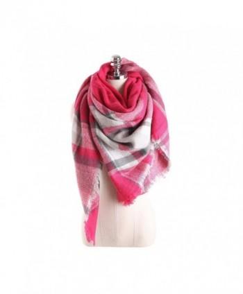 HITOP Women Tartan Scarf Stole Plaid Blanket Checked Scarves Wraps Shawl - Pink - C5186K9MQ66