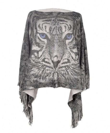 Lady's Tiger Pattern Tassels Sleeve Shawl Poncho Cape Batwing Tops for Women - Grey - C1186RAO2LG