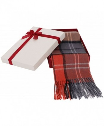 "Women's Winter Cashmere Scarf w/ Gift Box- 64"" x 11.5"" - Orange/Gray/ Black Plaid - CR185W47M94"