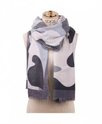 SOJOS Premium Soft Long Wool Viscose Scarves Shawl Wrap Scarf SC306 - E13 Camouflage Rock-grey - C4187CTMIZ9