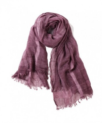 Puli Women's Lightweight Striped Long Scarf Summer Shawl Wrap - Purple And White - C517YY6LKAY