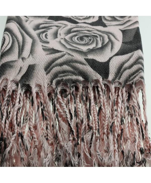 Urban Womens Designer Pashmina Warm Fall Winter Outfitters Scarf Silk Shawl - Pink - CG11POM3FQH