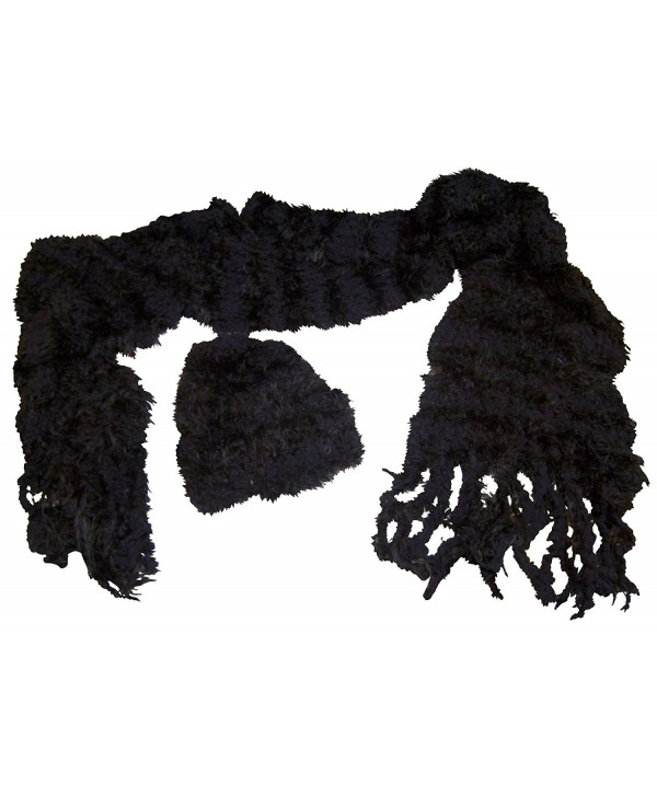 N'Ice Caps Womens Fancy Feather Yarn Hat And Scarf Accessory Set - Black - C9124NDYQRT
