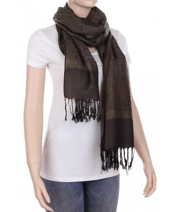 RufNTop Reversible Pashmina Scarf Paisley Silky Shawl Wrap Elegant Colors Stole for Women - Darktan Black - CR182TDTMCR