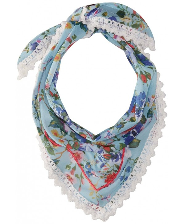 Steve Madden Women's Dolce Floral Triangle Neckerchief - Blue - C312NV6CI2S