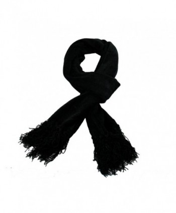 RW Chenille Long Soft Cozy Scarf - Black - CJ11USK6S6T