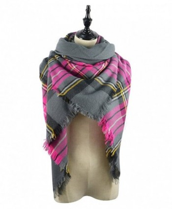 Women's Plaid Blanket Winter Scarf Warm Cozy Tartan Wrap Oversized Shawl Cape For Women - B33 - CQ186EG029S
