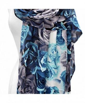 Blue Floral Pashmina Shawl Scarf in Wraps & Pashminas