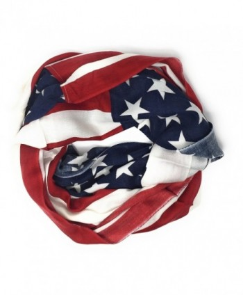 Large USA American Flag Red White and Blue Circle Infinity Scarf Shawl Wrap - Lightweight Flag - CX187KL64Z0