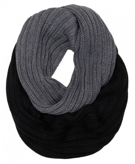 Funky Junque's C.C Ribbed Knit Warm Fashion Scarf Multicolored Infinity Scarf - Stripe Black/Grey - CQ186OO22KH