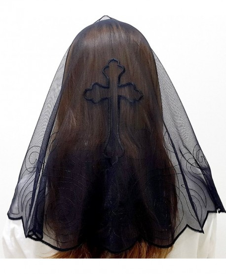 Anna Veils Chapel Catholic Veil Spanish Lace Mantilla Medium - Cross - Black - C9127JESE3V