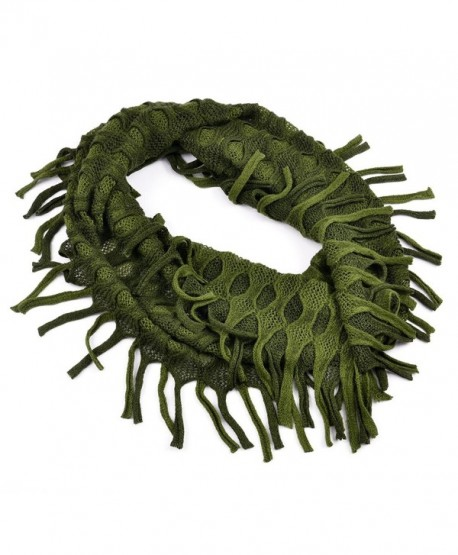 AOLOSHOW Winter Crochet Knit Fringe Infinity Loop Scarf- Various Styles & Colors - Ribbed Knit - Olive & Green - CF184SD25LN