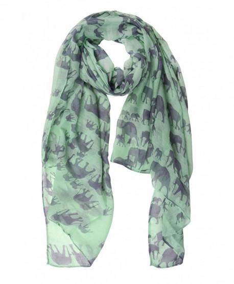Peach Couture Chic Trendy Lightweight Animal Print Elephant Wrap Scarf Shawl - Mint - CJ11ZR3VC8V