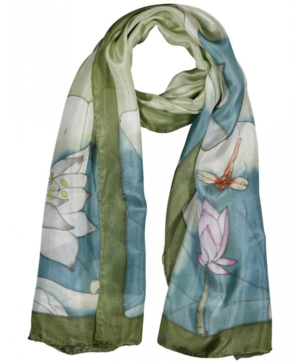 Invisible World Women's 100% Silk Hand Painted Scarf Dragonfly and Lotus - CC11L7QINJX