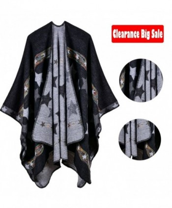Poncho Capes-Jelinda Ladise Winter Knitted Star Color Shawl Poncho Cape - Black - CW185LD8QAU