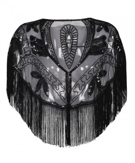 PrettyGuide Women's Evening Shawl Sequin Fringed Bolero Flapper 1920s Cape - Black - CL1803QSTS2