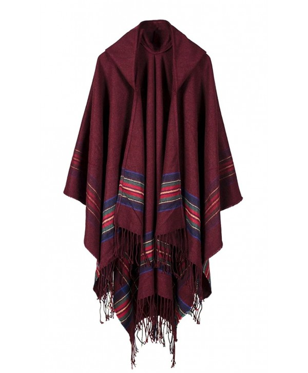 Hiwil Women Cashmere Hooded Cardigans Stripe Ponchos Cold Weather Scarves with Tassels One Size - Ruby - C7185Q5CCN6