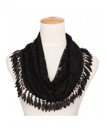 MissShorthair Womens Lightweight Lace Infinity Scarf with Tassels - Black Luck Leaf - CF1802TTOO5