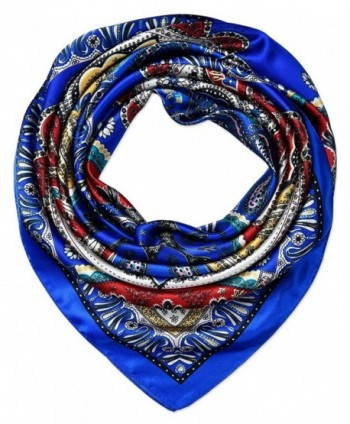 Women's Large Satin Square Silk Feeling Hair Scarf 35 x 35 inches by corciova - 352 Totems Blue - C21800LNQ2Q