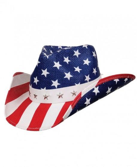 b273340cf1c United - Deadwood Trading  bull American Flag Shapeable Straw Cowboy Hat -  C6187EKTZ5W